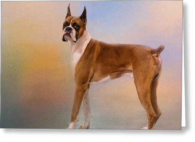 Boxer Art Greeting Cards - Boxer On A Beautiful Day Greeting Card by Jai Johnson