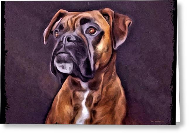 Boxer Digital Art Greeting Cards - Boxer Portrait Greeting Card by Scott Wallace