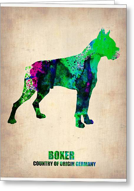 Boxer Dog Greeting Cards - Boxer Poster Greeting Card by Naxart Studio