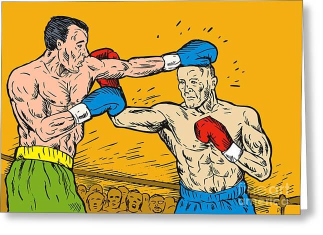 Knockout Digital Greeting Cards - Boxer punching Greeting Card by Aloysius Patrimonio