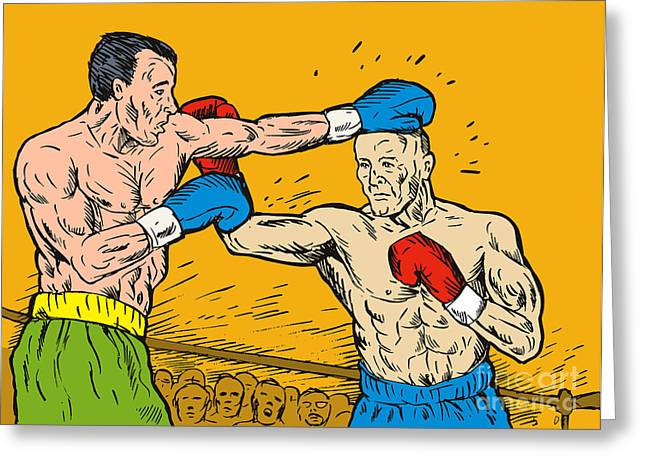 Boxer punching Greeting Card by Aloysius Patrimonio