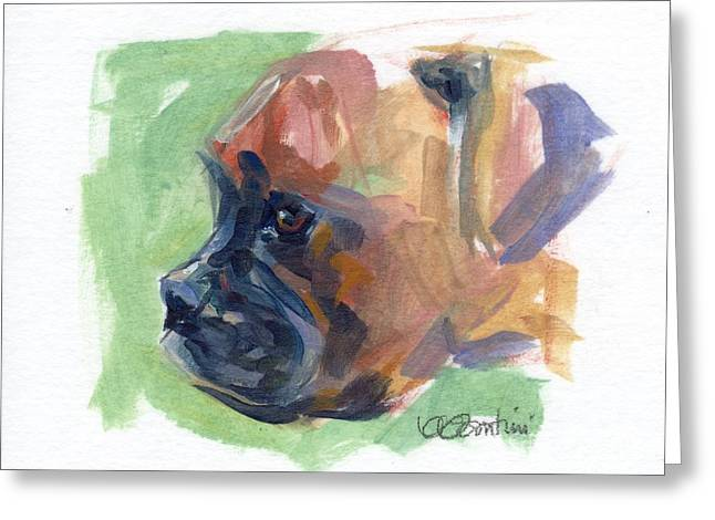 Boxer Pup Greeting Card by Kimberly Santini