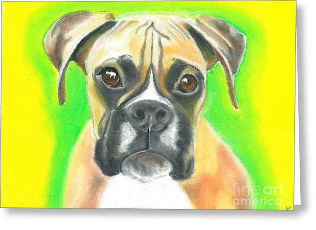 Boxer Pastels Greeting Cards - Boxer puppy Greeting Card by Aaron Koster