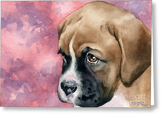 Puppies Paintings Greeting Cards - Boxer Puppy Greeting Card by David Rogers