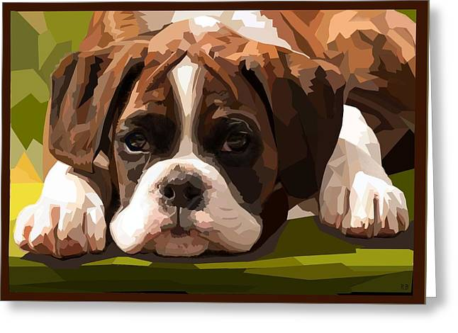 Boxer Puppy Digital Greeting Cards - Boxer Puppy Greeting Card by Romilda Bozzetti