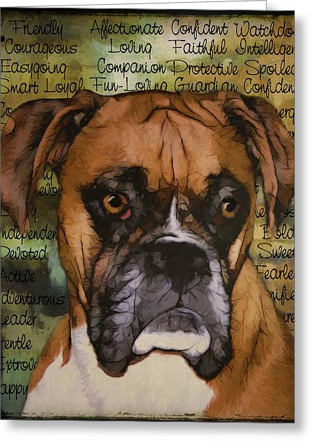 Boxer Digital Art Greeting Cards - Boxer Greeting Card by Sherry Wemple