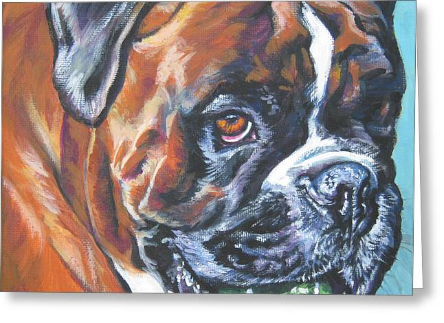 boxer tennis Greeting Card by Lee Ann Shepard