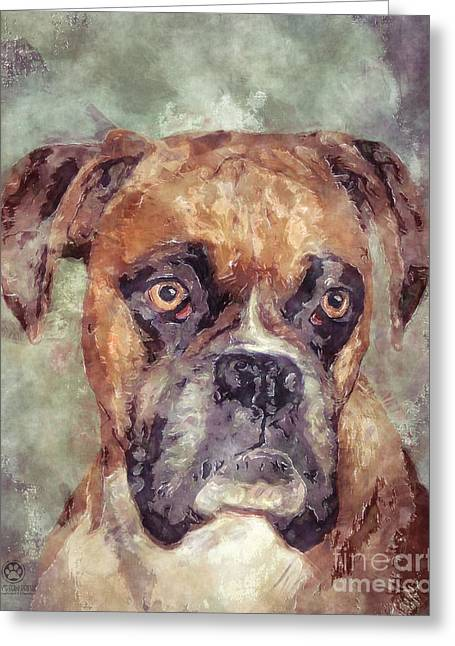 Boxer Digital Art Greeting Cards - Boxer Greeting Card by Tim Wemple