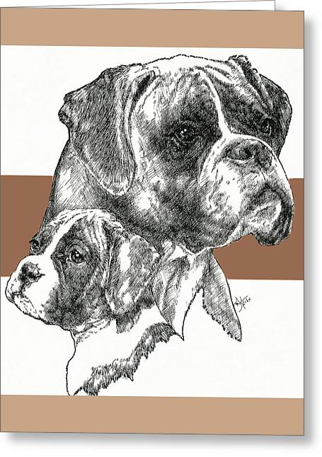 Working Dog Greeting Cards - Boxer -uncropped- Father and Son Greeting Card by Barbara Keith