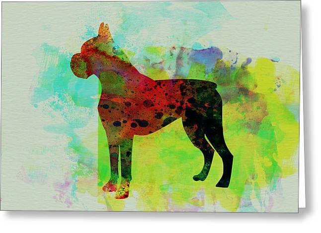 Boxer Greeting Cards - Boxer Watercolor Greeting Card by Naxart Studio