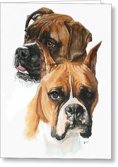 Boxers Greeting Card by Barbara Keith
