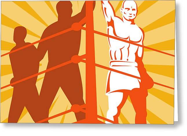 Boxing Champion Greeting Card by Aloysius Patrimonio