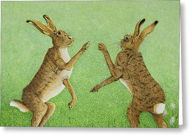 Hare Greeting Cards - Boxing Clever Greeting Card by Pat Scott