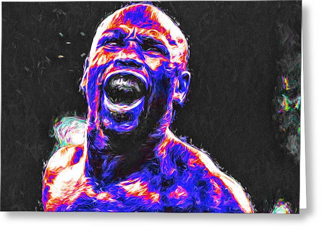 Boxing Floyd Money Mayweather Painted Greeting Card by David Haskett