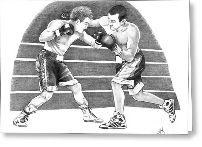 Boxer Drawings Greeting Cards - Boxing Match Greeting Card by Murphy Elliott