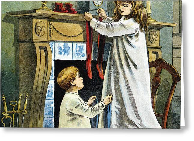 Boy And Girl Place Stockings On Their Fireplace Mantle On Christmas Eve Greeting Card by William Roger Snow