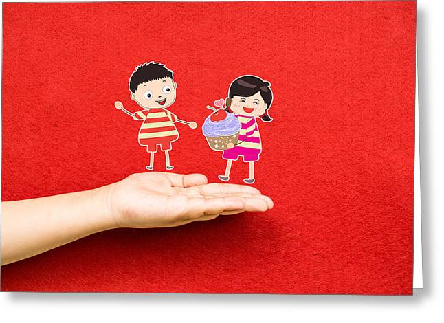 Boy And Girl With Cupcake On A Hand Greeting Card by Dai Trinh Huu