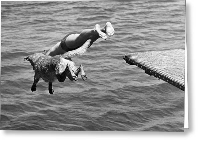 Ocean Mammals Greeting Cards - Boy And His Dog Dive Together Greeting Card by American School