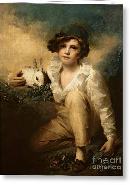 Feeding Greeting Cards - Boy and Rabbit Greeting Card by Sir Henry Raeburn