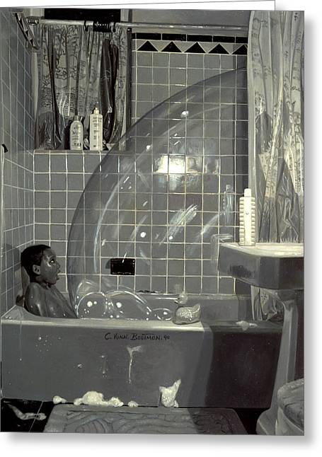 In The Bath Greeting Cards - Boy and the Bubble Greeting Card by Colin Bootman