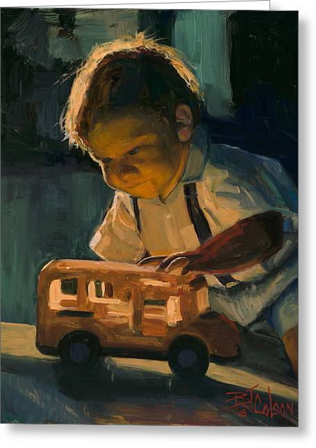 Boy And Their Toys Greeting Card by Billie Colson