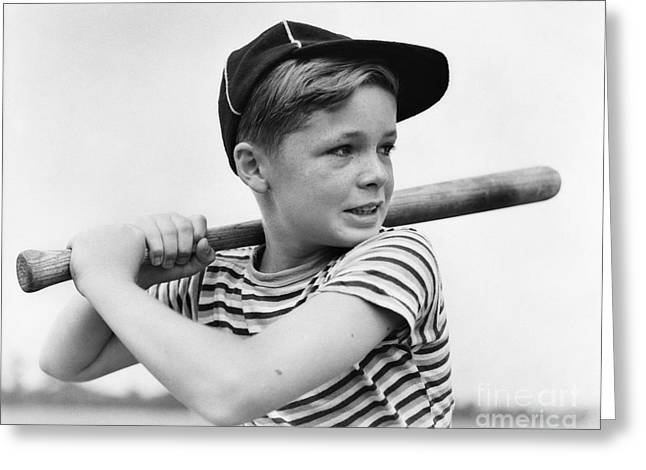 Boy At Bat, C.1930s Greeting Card by H. Armstrong Roberts/ClassicStock