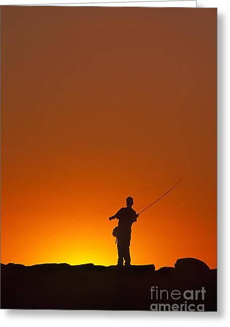 Boy Fishing Greeting Card by John Greim