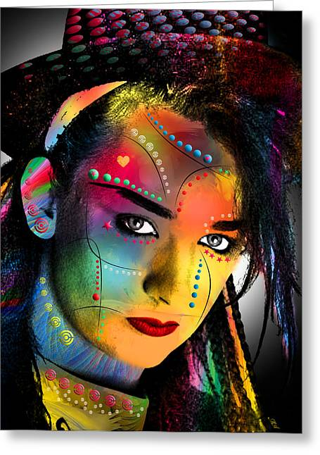 80s Greeting Cards - Boy George  Greeting Card by Mark Ashkenazi