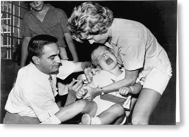 Adult And Child Greeting Cards - Boy Gets Measles Vaccine  Shot Greeting Card by Underwood Archives