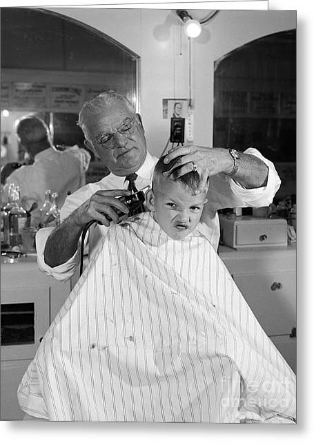 Boy Getting A Haircut, C.1950s Greeting Card by B. Taylor/ClassicStock