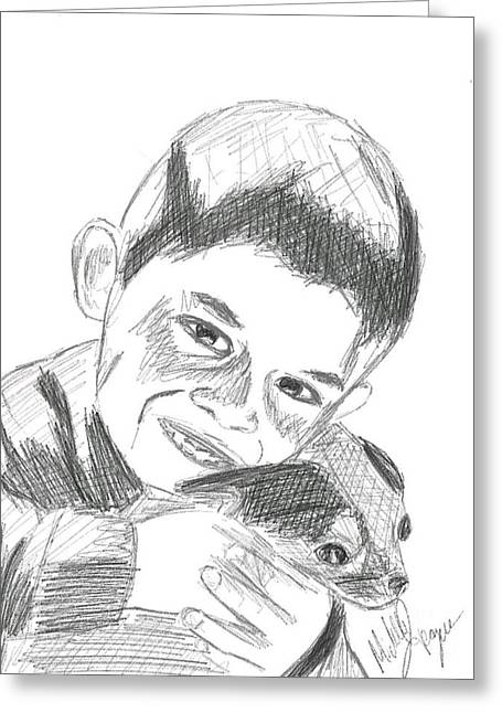 Puppies Drawings Greeting Cards - Boy hugging puppy Greeting Card by Michelle teague Smith