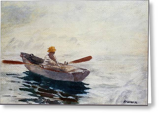 Shadows Drawings Greeting Cards - Boy in a Boat Greeting Card by Winslow Homer