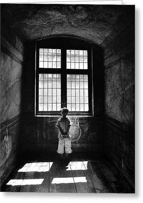 Child Photographs Greeting Cards - Boy In A Pensive Mood Greeting Card by Przemyslaw Wielicki