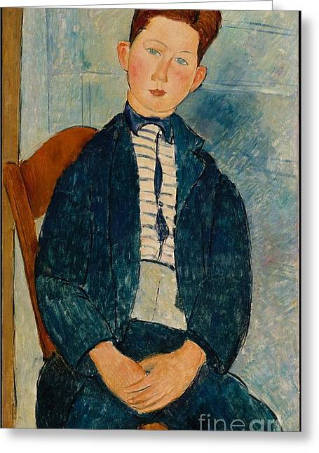 Modigliani; Amedeo (1884-1920) Greeting Cards - Boy in a Striped Sweater  Greeting Card by Celestial Images