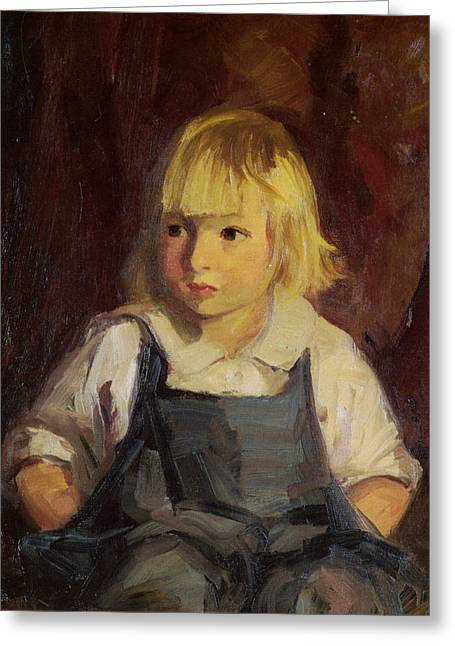 Overalls Greeting Cards - Boy In Blue Overalls Greeting Card by Robert Henri