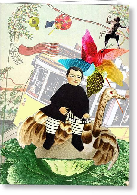Boy In The Wind Greeting Card by Bernie's  Art Prints
