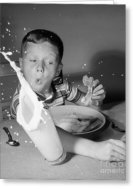 Boy Knocking Over Milk, C.1960s Greeting Card by Debrocke/ClassicStock