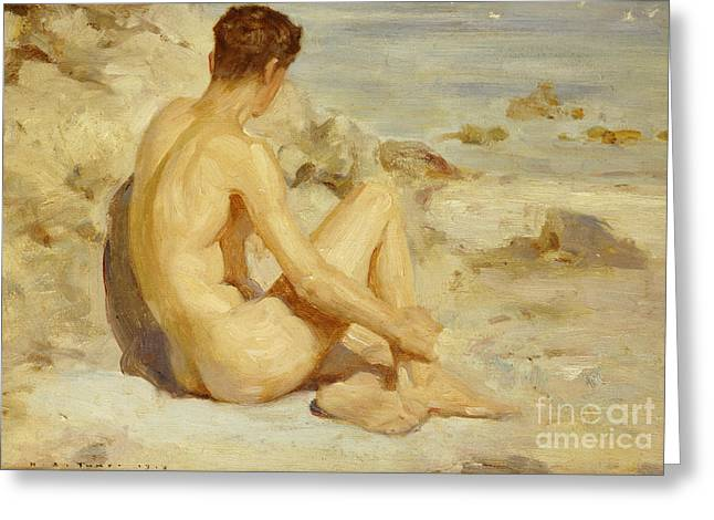 Back View Greeting Cards - Boy on a Beach Greeting Card by Henry Scott Tuke