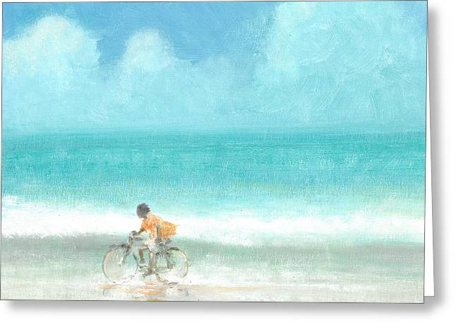 Ocean Shore Drawings Greeting Cards - Boy On A Bike Greeting Card by Lincoln Seligman