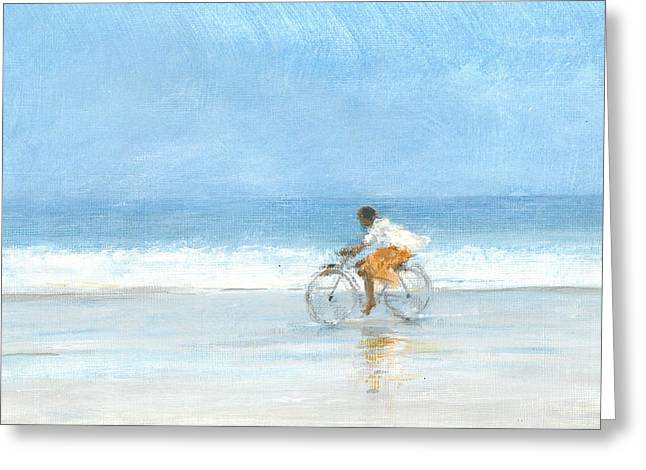 Ocean Shore Drawings Greeting Cards - Boy On A Bike  One Greeting Card by Lincoln Seligman