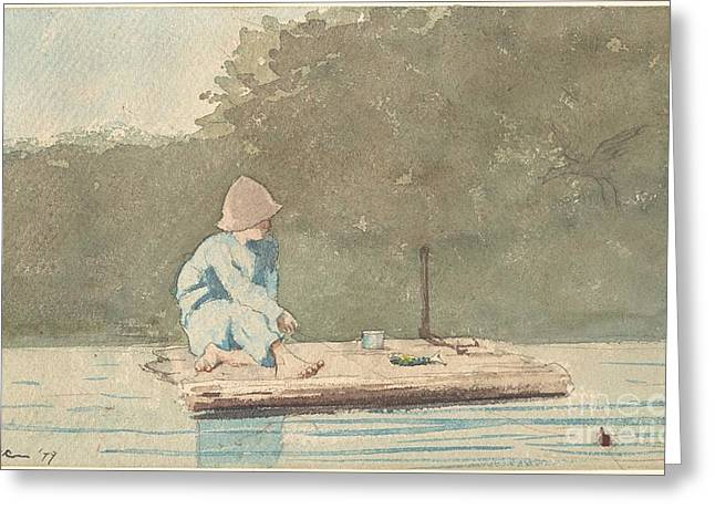 Winslow Homer Greeting Cards - Boy on a Raft Greeting Card by Celestial Images