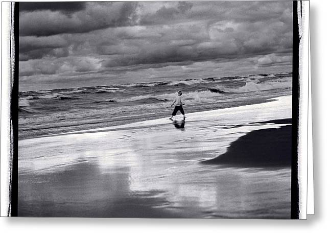 Indiana Dunes Greeting Cards - Boy On Shoreline Greeting Card by Steve Gadomski