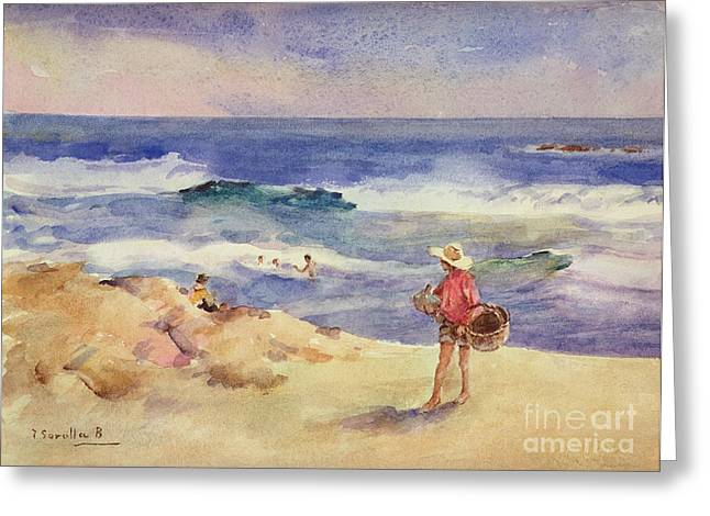 Boy On The Sand Greeting Card by Joaquin Sorolla