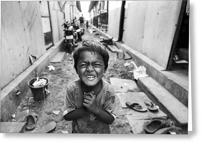 Portrait Photographs Greeting Cards - Boy On The Street Greeting Card by Mahesh Balasubramanian