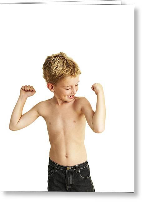 Biceps Greeting Cards - Boy Posing Greeting Card by Ian Boddy