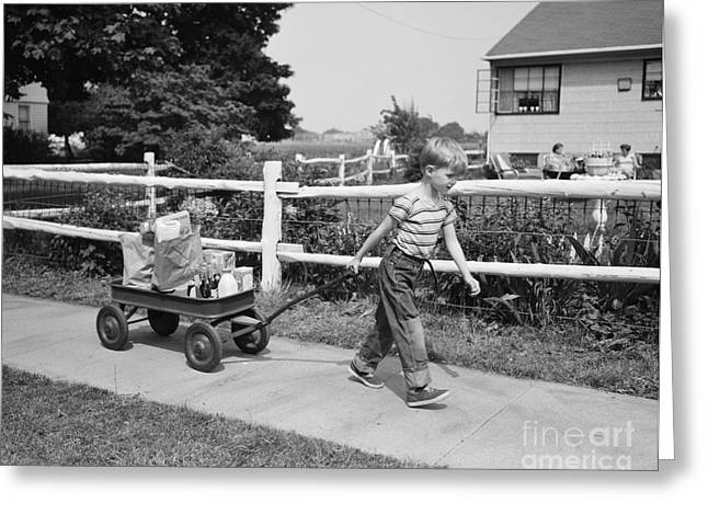 Boy Pulling Groceries In Wagon, C.1950s Greeting Card by Debrocke/ClassicStock