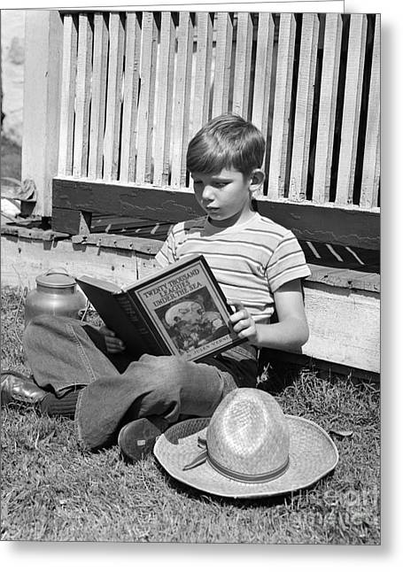 Boy Reading Outside, C.1940s Greeting Card by H. Armstrong Roberts/ClassicStock