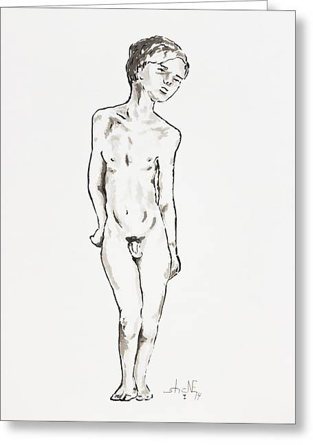 Homoerotic Drawings Greeting Cards - Boy Greeting Card by Shane Rodarte