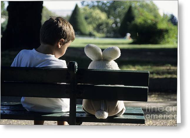 Arm Around Boy Greeting Cards - Boy sitting on park bench with teddy bear Greeting Card by Sami Sarkis