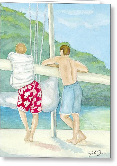 Wind In The Sails Greeting Cards - Boy Talk Greeting Card by Jill Jackson